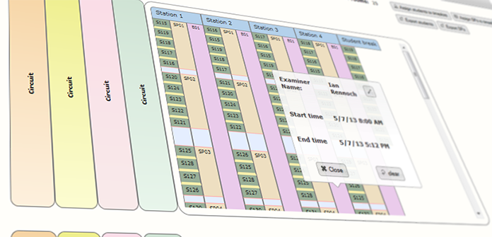 Screenshot of OSCE Managers' timetable and assignment screen